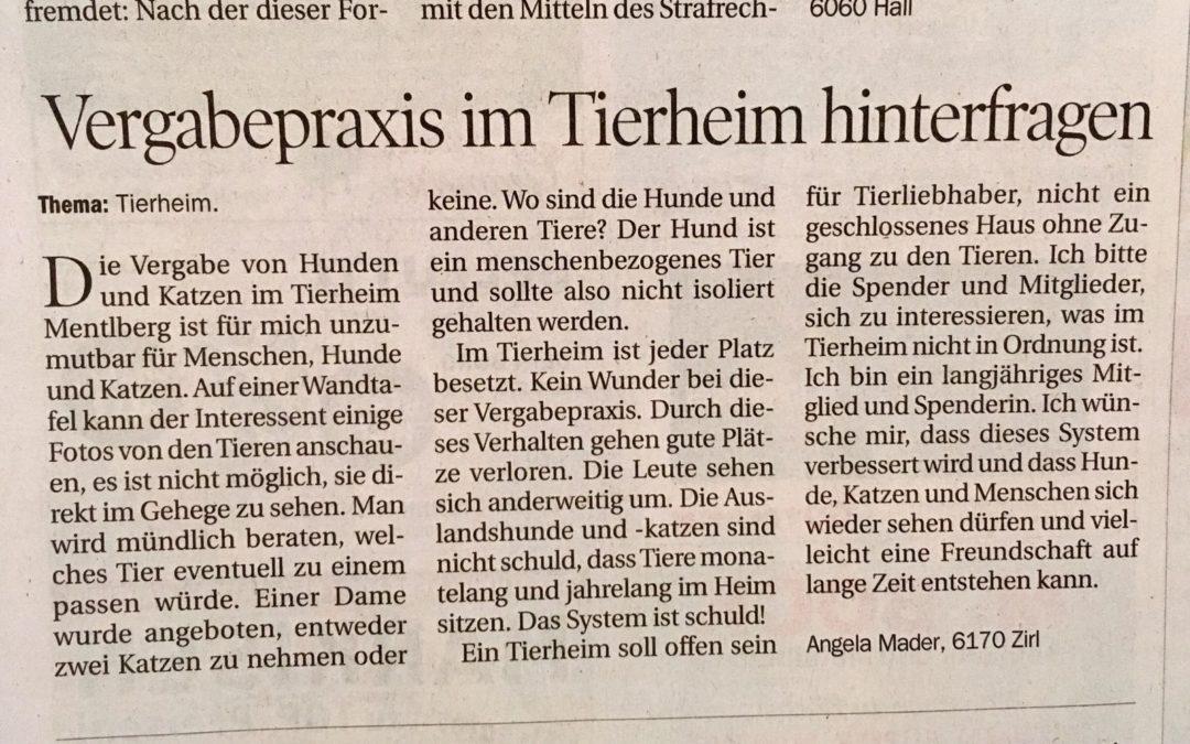 Antwort auf den Leserbrief in der Tiroler Tageszeitung vom 11.07.2018